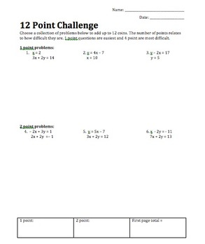 Systems of Equations 12 Point Challenge