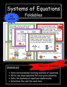 Systems of Equations Word Problems Flipbooks