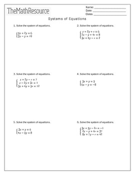 Systems of Equations (2 and 3 variables) - Worksheet