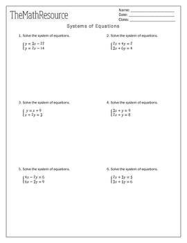 Systems of Equations (2 variables) - Unit