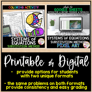 Solving Systems of Equations using the Substitution Method Coloring Activity