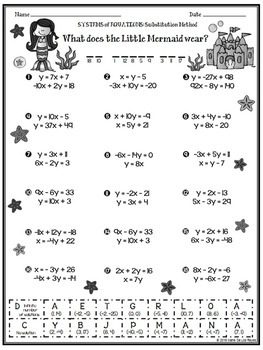 Solving Systems of Equations using the Substitution Method Practice Riddle