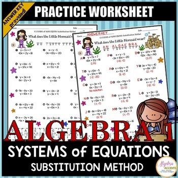 Solving Systems Of Equations Using The Substitution Method Practice