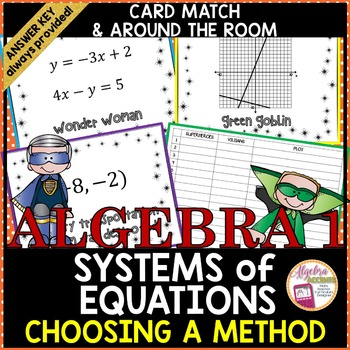 Solving Systems of Equations using Any Method Superhero Card Match