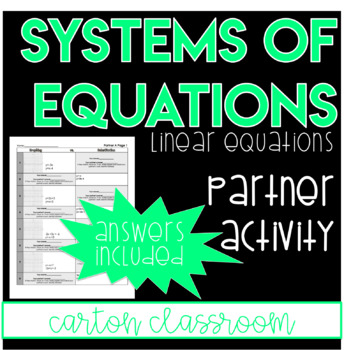 System of Equations - Simultaneous Equations - Partner Activity