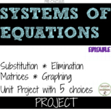 Systems of Equations 5 Options Unit Project  EDITABLE