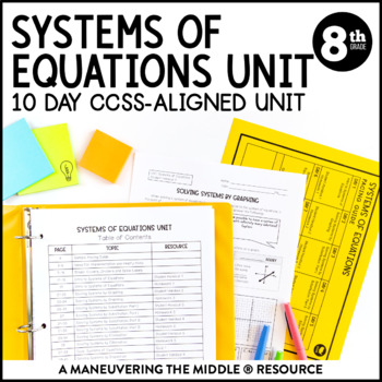 8th Grade Math Systems of Equations Unit: 8 EE 8