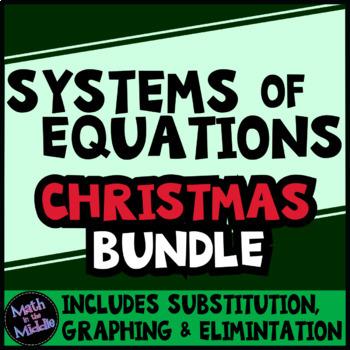 Systems of Equations Christmas Math Bundle