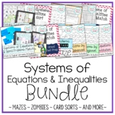 Solving Systems of Equations & Inequalities Activity Bundle