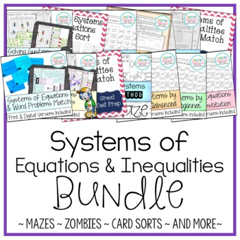 Systems of Equations & Inequalities Activity Bundle