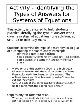 Systems of Equations Activity - One Solution, No Solution, Infinitely Many
