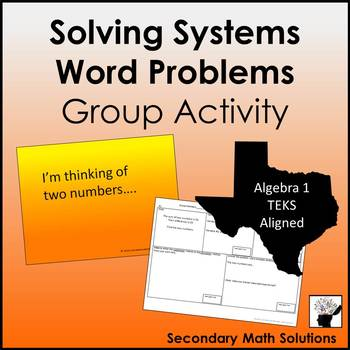 Systems Word Problems Activity