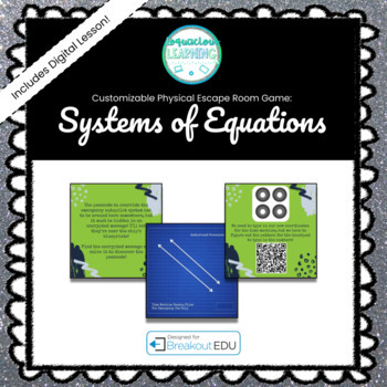 Systems of Equations (Algebra) Customizable Escape Room / Breakout Game