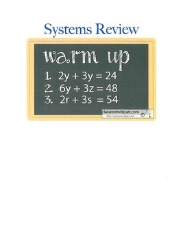 Systems of Equations Algebra Differentiated Review
