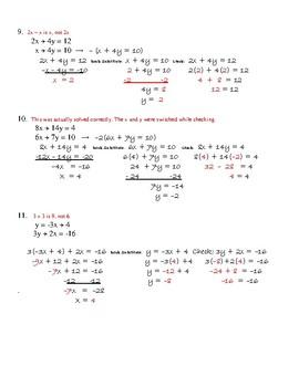 Systems of Equations Algebra Error Analysis