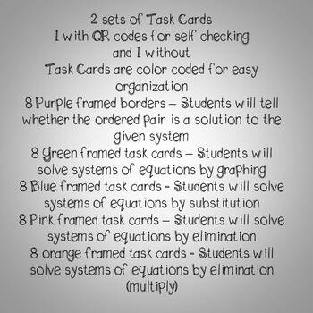 Systems of Equations Algebra Task Cards (Graphing, Substitution, Elimination)