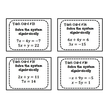 Systems of Equations Task Cards {Substitution/Elimination} 8.EE.8
