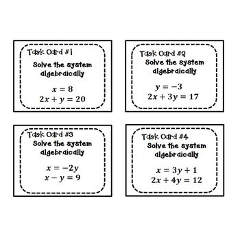 Systems of Equations Task Cards {Substitution/Elimination} 8 EE 8
