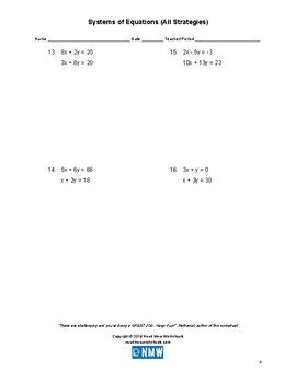 Systems of Equations (All Strategies)