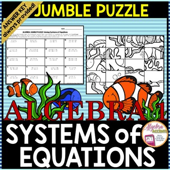 Solving Systems of Equations Any Method Jumble Puzzle