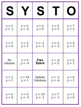 Systems of Equations BINGO - SYSTO