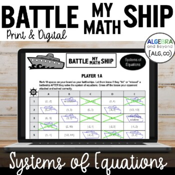 Systems of Equations Activity - Battle My Math Ship Game