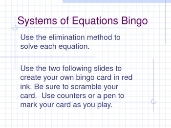 Systems of Equations Bingo (Elimination Method)