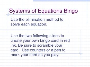 Systems of Equations Bingo (Elimination Method)
