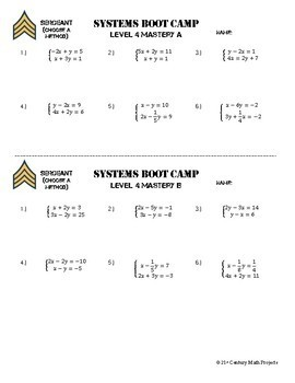 Systems of Equations Boot Camp -- Differentiated Practice Assignments