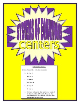 Systems of Equations Centers