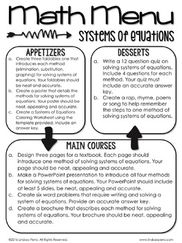 Systems of Equations Choice Board and Math Menu