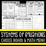Systems of Equations Choice Board and Math Menu - Great fo