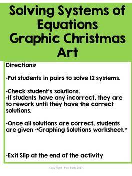 Systems of Equations Christmas Art Activity