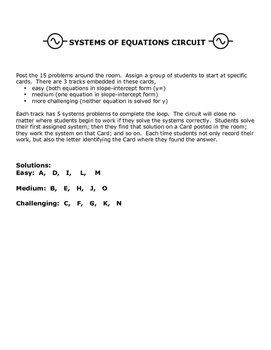 Systems of Equations Circuit - Solve by Substitution, Differentiated 3 Levels