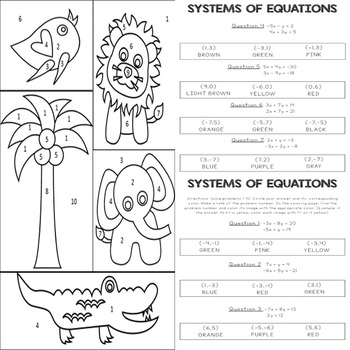 Systems of Equations: Color-By-Numbers Activity