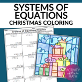 Christmas Math Systems of Equations Coloring Activity