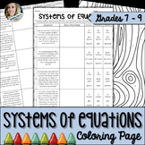 Systems of Equations Coloring Worksheet
