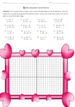 Systems of Equations Connect the Dots - Valentine's Day Heart