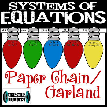 Systems of Equations Cooperative Paper Chain Garland Chirstmas Lights