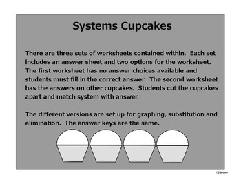 Systems of Equations Cupcakes