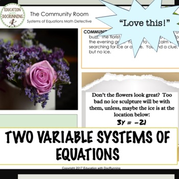 Systems of Equations Digital Math Detective Activity for Google Drive