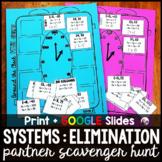 Systems of Equations ELIMINATION Partner Scavenger Hunt -
