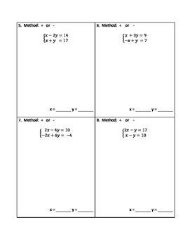 Systems of Equations - Elimination - Adding and Subtracting ONLY