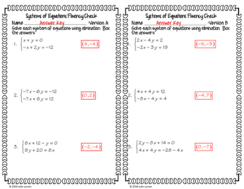 Systems of Equations Elimination Basic 1 Addition: No Prep Fluent in Math Series