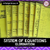 Systems of Equations Elimination Bookmark Notes