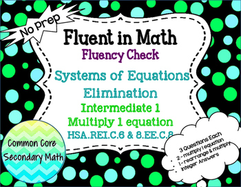 Systems of Equations Elimination Intermediate 1 : No Prep Fluent in Math Series