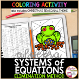 Solving Systems of Equations using the Elimination Method Coloring Activity