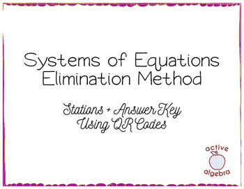 Systems of Equations Elimination Method Stations with QR Codes - from bundle