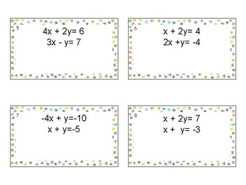 Systems of Equations Elimination Method Task Cards