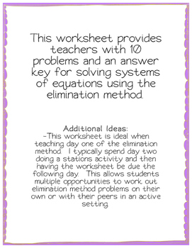 Systems of Equations Elimination Method Worksheet - from bundle